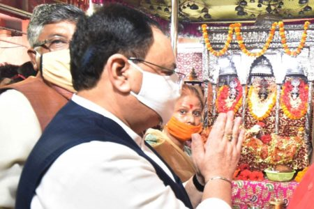 JP Nadda offers prayers at the Shri Badi Patan Devi Mandir,Bihar