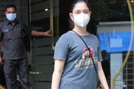 Actress Tamanna Bhatia seen at a Bandra salon
