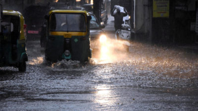 Bengaluru: Heavy rains lead to waterlogging in Bengaluru on Sep 19, 2020. (Photo: IANS)