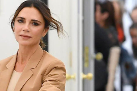 Victoria Beckham has a rare red lip moment